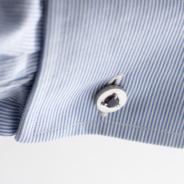 Double Sided 925/1000 Silver Cufflinks with Iolites - The Bespoke Shop