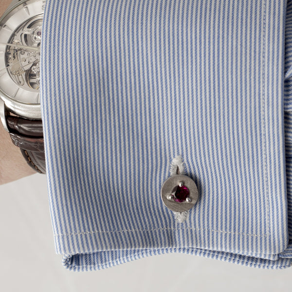Double Sided 925/1000 Silver Cufflinks with Rhodolites - The Bespoke Shop
