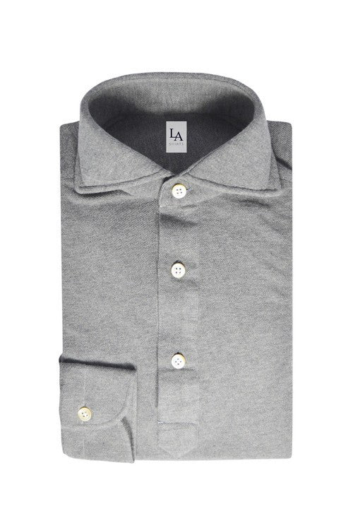 Long Sleeved Friday Polo Shirt - Light Grey - Size S - The Bespoke Shop