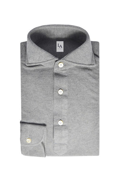 Long Sleeved Friday Polo Shirt - Light Grey - The Bespoke Shop