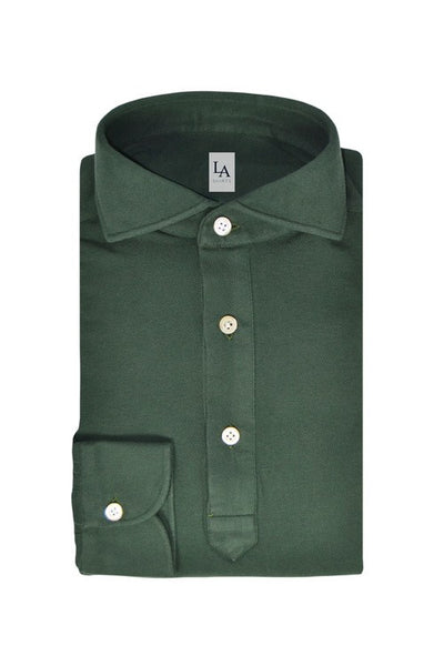 Long Sleeved Friday Polo Shirt - Green - The Bespoke Shop