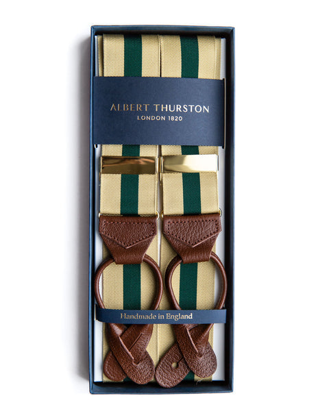 Albert Thurston Beige and Green Stripe Braces - The Bespoke Shop