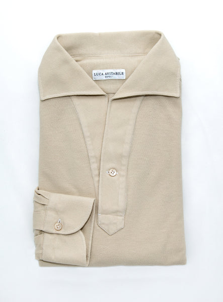 Long Sleeved One Piece Collar Friday Polo Shirt - Beige/Sand - The Bespoke Shop