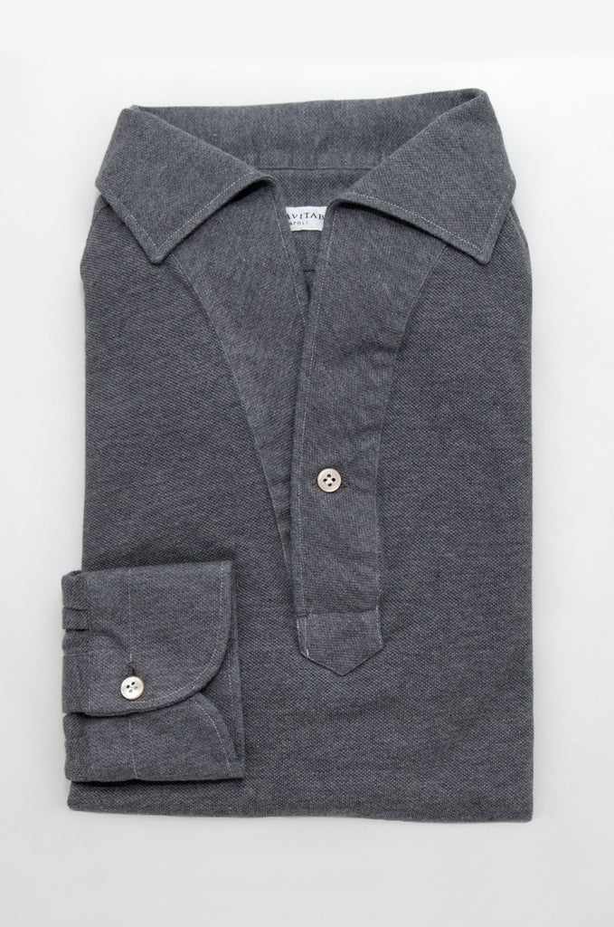 Long Sleeved One Piece Collar Friday Polo Shirt - Charcoal - The Bespoke Shop