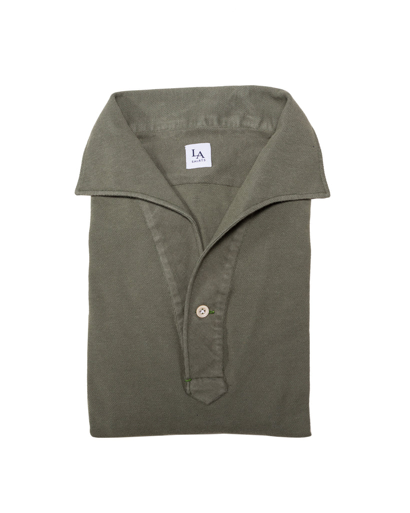 Long Sleeved One Piece Collar Friday Polo Shirt - Olive - The Bespoke Shop