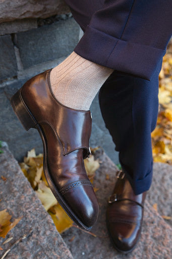Beige Over The Calf Ribbed Cashmere/Wool Socks - The Bespoke Shop