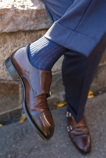 Navy and Blue Striped Over The Calf Socks - The Bespoke Shop