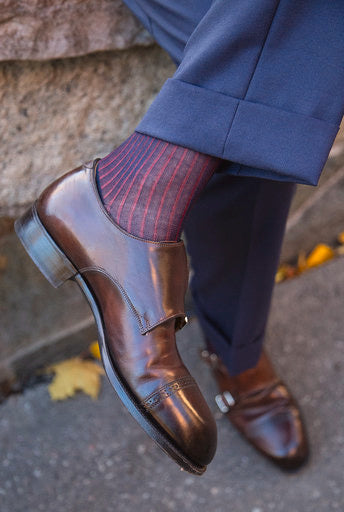Navy and Red Striped Over The Calf Socks - The Bespoke Shop