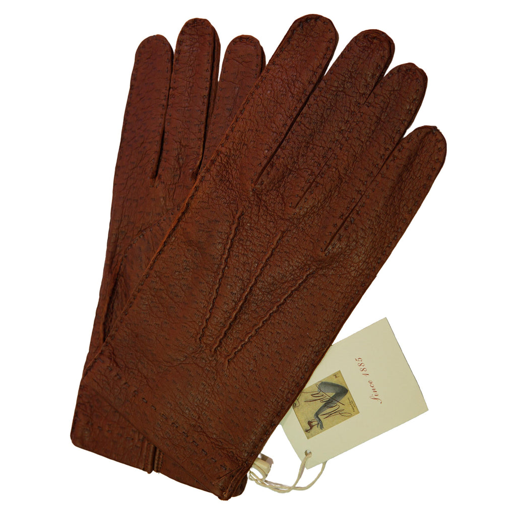 Smokey Topaz Unlined Peccary Gloves - The Bespoke Shop