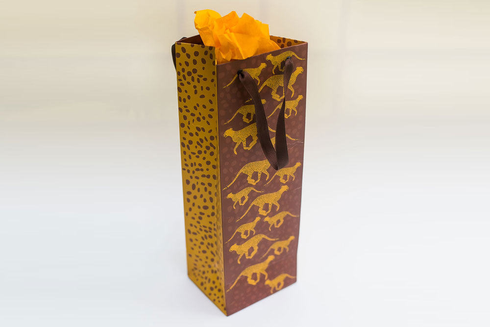 Cheetah wine bags - set of 4 bags