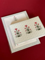 Mughal lotus stationery set and notepad