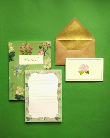 Botanical Notebook and Notepad with Hydrangea Stationery Set