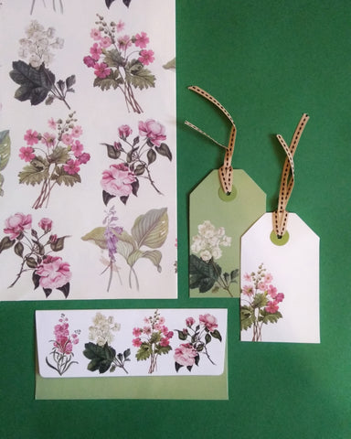 Botanical Wrapping, Tags and Envelopes Set