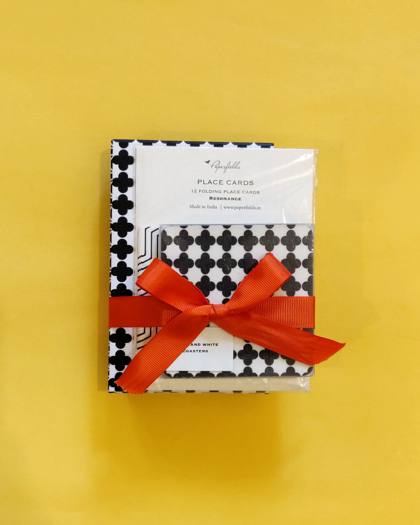Black and white Place cards, Coaster and Stationery Set