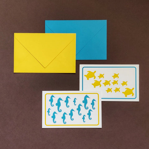 Seahorse and turtle stationery set