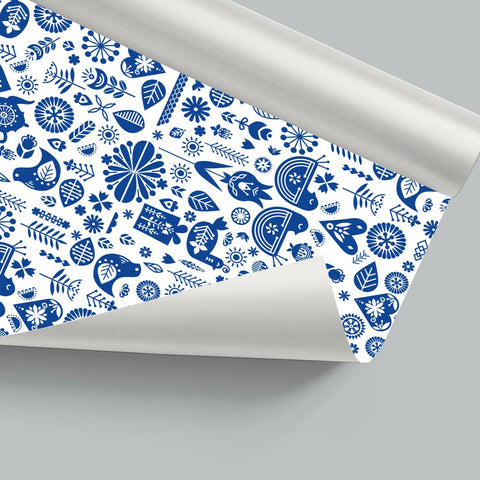 Blue Grey Hygge Gift Wrap