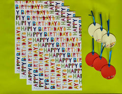 Happy Birthday wrap and tag set