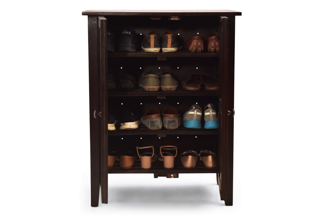 Zoey Shoe Cabinet In Mahogany Finish Fq Furniture