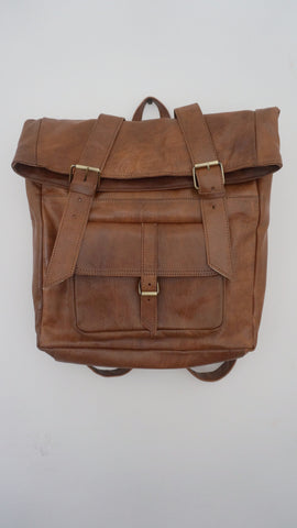 ISMAD LARGE LEATHER SATCHEL BACKPACK (TAN)