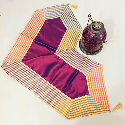 HANDMADE SATIN GINGHAM TABLE RUNNER