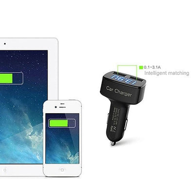 4 in 1 Universal Dual USB Car Charger Adapter LCD Digital Display Celsius Voltage