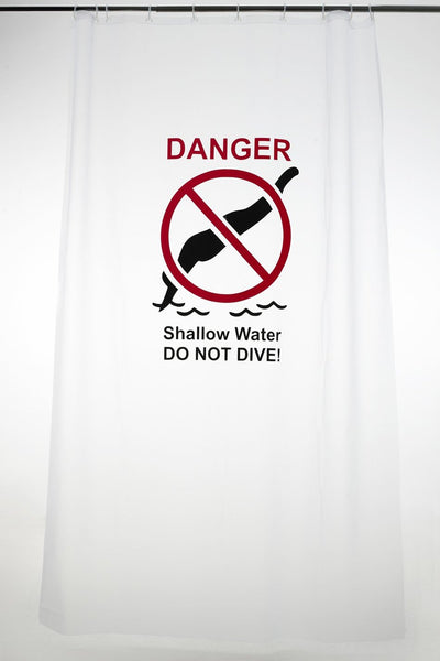 Hand Printed Vinyl Shower Curtains No Diving