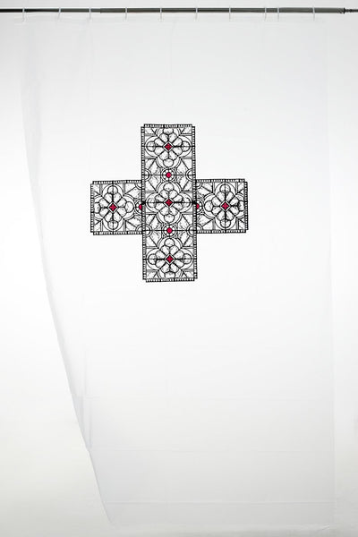 Greek Cross with a stained glass pattern
