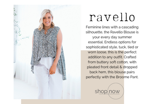 australian ethical womens fashion label soft cotton free flowing ravello blouse