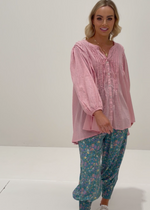 Miss June Paris Anja Blouse Sapphire Ladies Fashion Designed in Paris Made In India Blue Floral. Flaunting frills featured across the bodice and sleeves, tie neckline with tassel detail, elasticised cuffs and contrast undergarment, the gorgeous grace of this design will be a welcome wardrobe addition. A collection of breathtakingly beautiful bohemian designs. Ethically made ~ limitless luxury.
