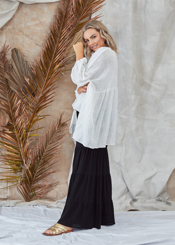 Byron Pant Black Gypsy Boho Inspired Layered Wide Lined Leg Full Length Comfortable Loose Fitting Pant Soft Elasticised Waist