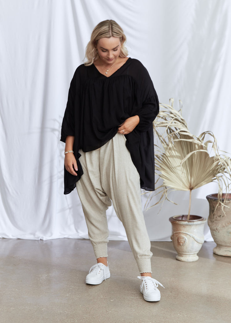 Salt & Soda Design For Everybody For Every Season For Every Day Florence Blouse Ebony Pretty Oversized Loose Fitting Cotton Rayon V Neck 3/4 Sleeve Top Abundance Of Fabric