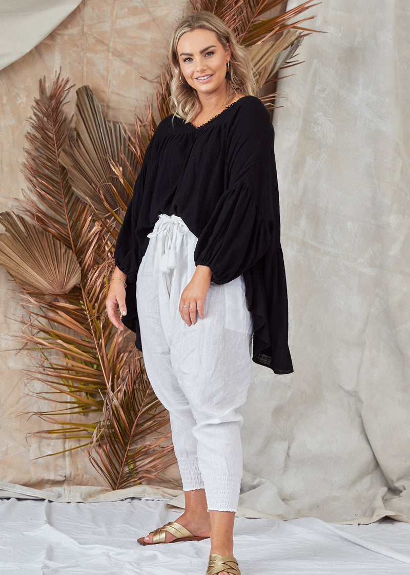 Salt & Soda Design For Everybody For Every Season For Every Day Florence Blouse Ebony Muslin Pretty Oversized Loose Fitting Muslin V Neck 3/4 Sleeve Top Abundance Of Fabric