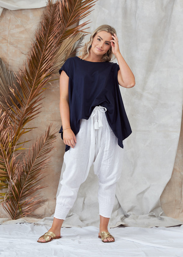 Salt & Soda Design For Everybody For Every Season For Every Day Little Cove T-Shirt Midnight Navy Cotton Feature Stitching Asymmetrical Hemline Flattering Round Neckline 100% Organic Cotton Bamboo Cap Sleeve
