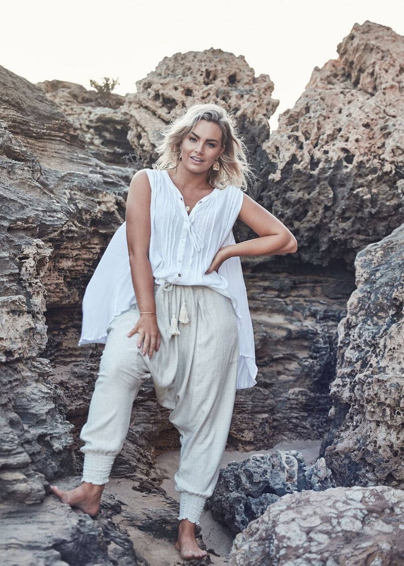Salt & Soda Design For Everybody For Every Season For Every Day Moroccan Pant Natural 100% Soft Linen Draped Pleated Front Drawcord Waist With Raw Rope Tassels Severe Drop Crutch Fitted Elasticised Cuff To Leg