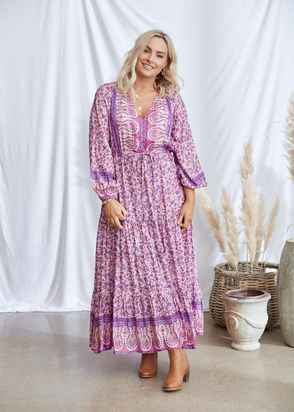 Salt & Soda Design For Everybody For Every Season For Every Day Rosita DressCotton Candy Best Seller Firm Favourite Floral Button Up V Neck With Tie At waist Layered Frill Maxi Long Dress With Buttons Border Print