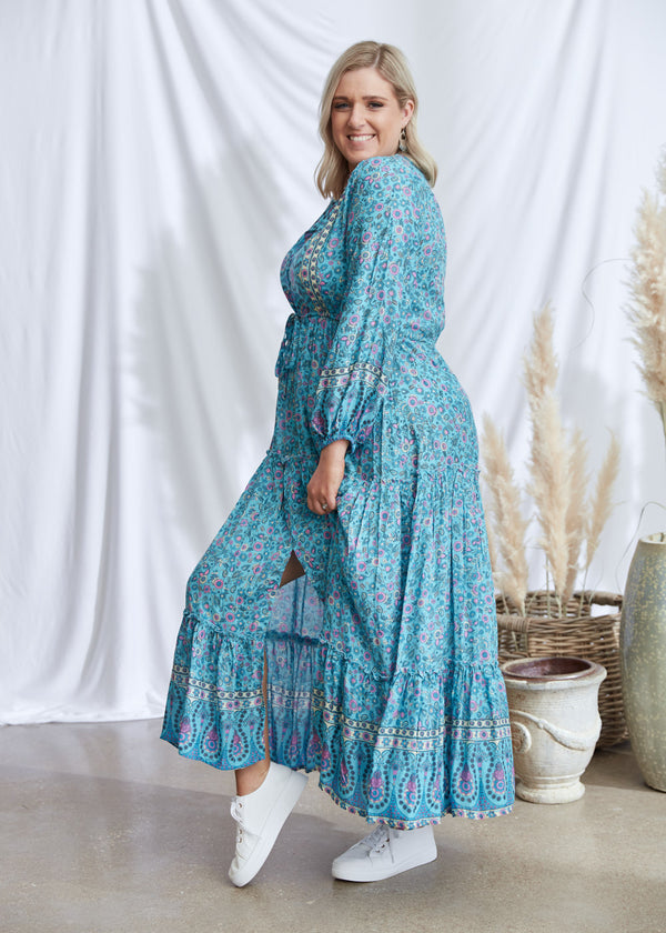 Salt & Soda Design For Everybody For Every Season For Every Day Rosita Dress Seafoam Best Seller Firm Favourite Floral Button Up V Neck With Tie At Waist Layered Frill Maxi Long Dress With Buttons Border Print