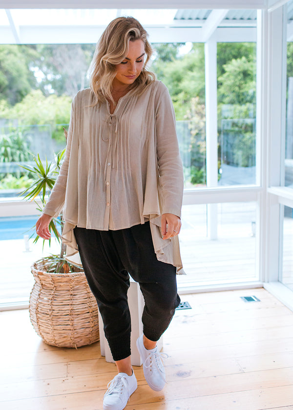 Salt & Soda Design For Everybody For Every Season For Every Day Amalfi Blouse Stone Classic Shirt Button Feature Free Flowing Feminine Perfect Black Shirt Your Newest Go-To Your New Wardrobe Staple Wear Me Tucked Tied Or Flowy