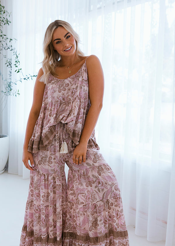Salt & Soda Design For Everybody For Every Season For Every Day Byron Nutmeg Pant Gypsy Boho Inspired Layered Wide Lined Leg Full Length Comfortable Loose Fitting Pant Soft Elasticised Waist