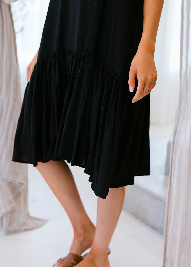 salt and soda australian owned womens fashion label eco sustainable comfortable adjustable straps pleated detail short cotton black ebony dress