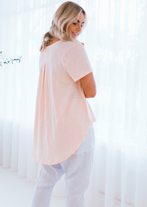 Salt & Soda Design For Everybody For Every Season For Every Day Monaco Tee Peachy Keen Uncomplicated and practical, it features a fabric print star detail, scoop hemline and is made from 100% organic cotton. Dress up or down.