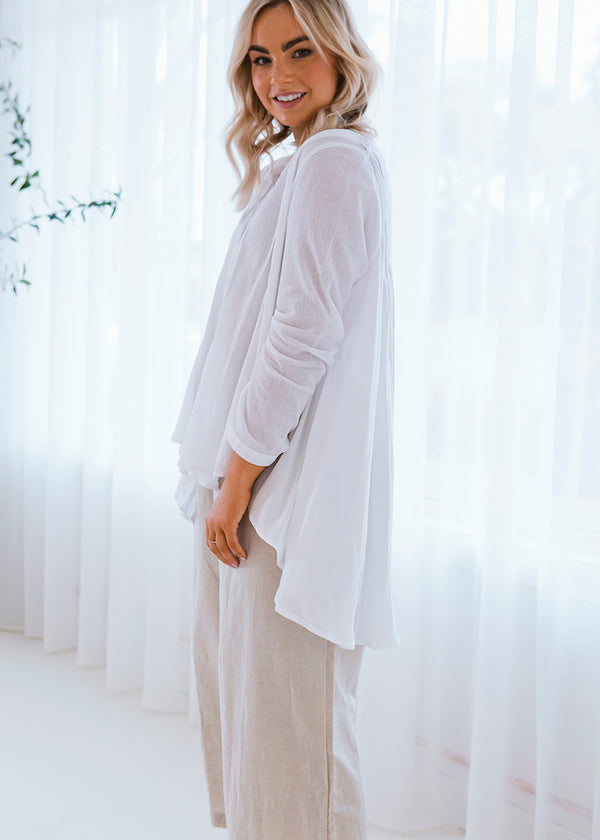 Salt & Soda Design For Everybody For Every Season For Every Day Amalfi Blouse Crisp White Classic Shirt Button Feature Free Flowing Feminine Perfect White Shirt Your Newest Go-To Your New Wardrobe Staple Wear Me Tucked Tied Or Flowy