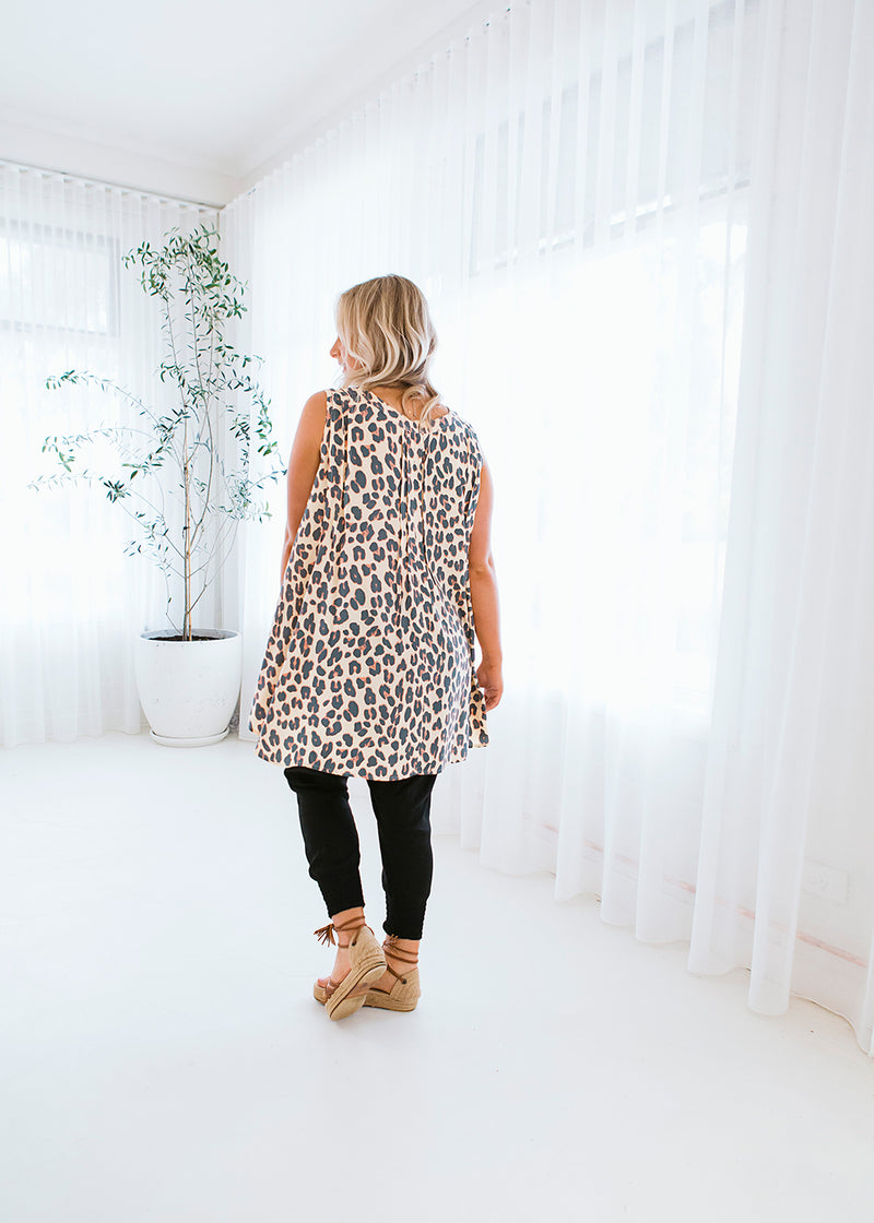 salt and soda australian owned womens fashion label eco sustainable comfortable leopard print pin tuck button front detail dipped hem blouse top
