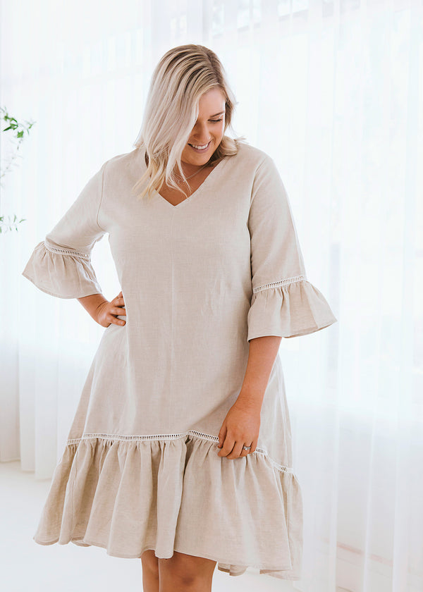 Salt & Soda Design For Everybody For Every Season For Every Day Saltum Dress Stone australian owned womens fashion label eco ethical sustainable dress ruffle lace detail sleeve 3/4 Length Belle Sleeves V-Neck 3/4 Length Dress Light Weight 100% Organic Cotton Material