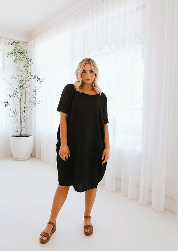 Salt & Soda Design For Everybody For Every Season For Every Day Capri Dress Ebony Boho Inspired Comfortable Loose Fitting Capped Sleeve Pockets Scoop Neck Mid Length Dress Extended Size Range