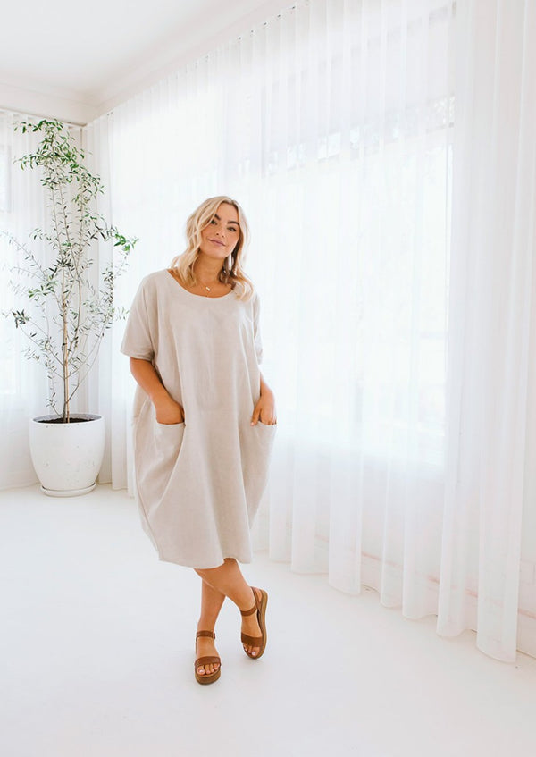 salt and soda australian owned womens fashion label comfortable relaxed fit round neck stone beige light brown linen dress with pocket detail