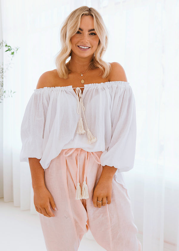 Australian Womens Ethical Fashion Label Off Shoulder Blouse with Raw Tassel Detail Tie and Frill Sleeves