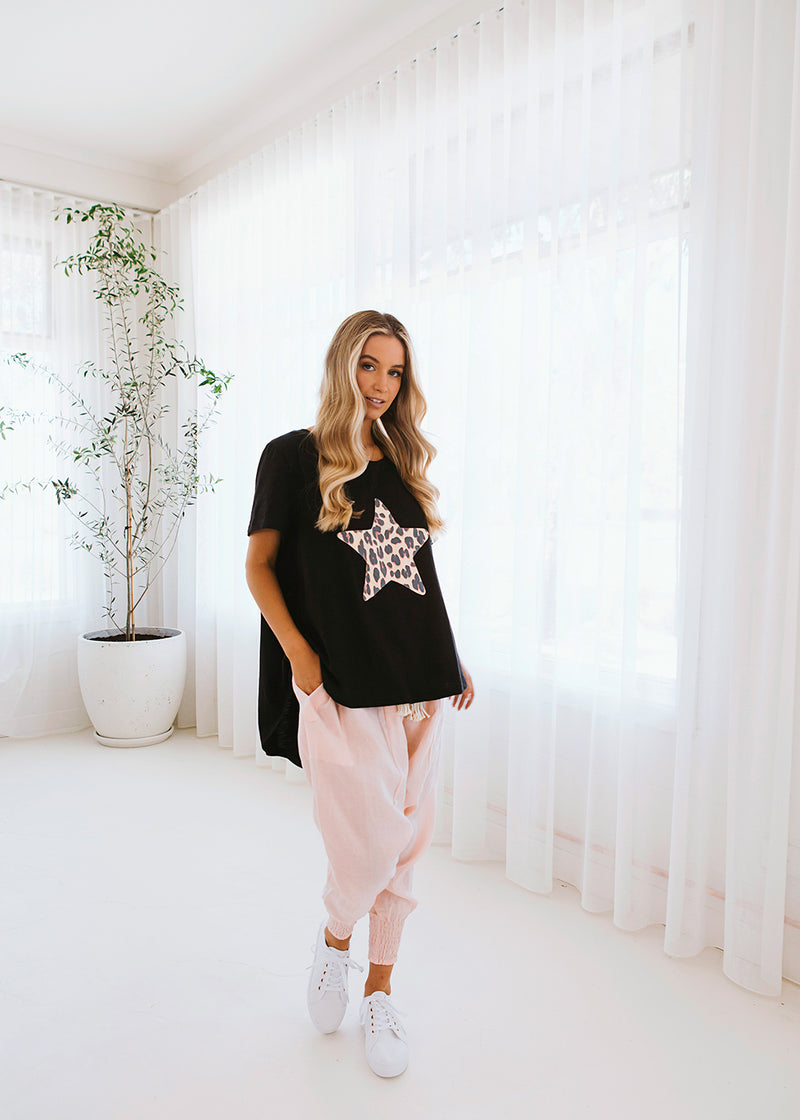 salt and soda australian owned womens fashion label star print tee with leopard print detail cotton dipped hem