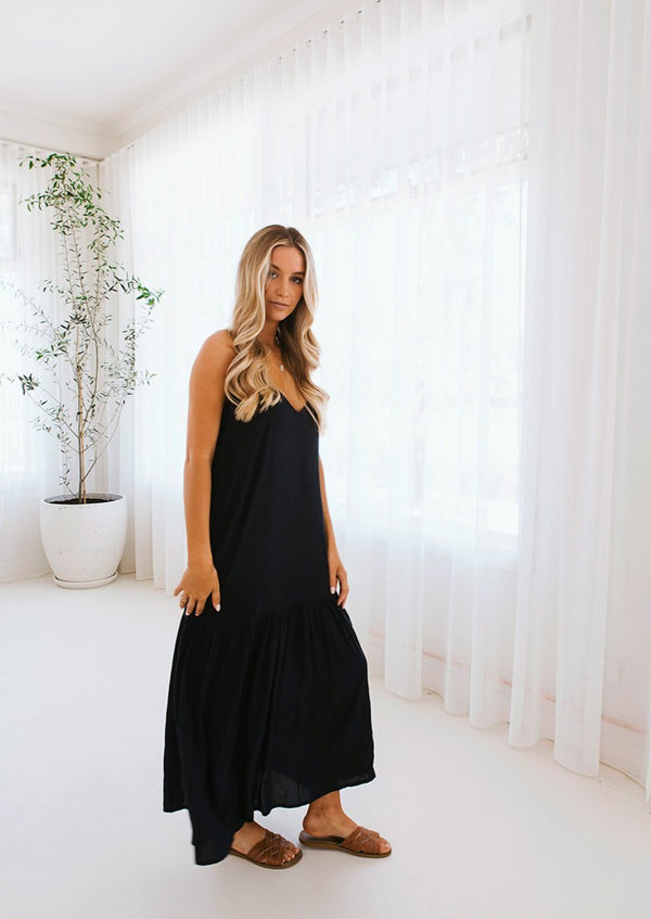 salt and soda australian owned womens fashion label eco sustainable comfortable pleated cotton maxi dress black ebony