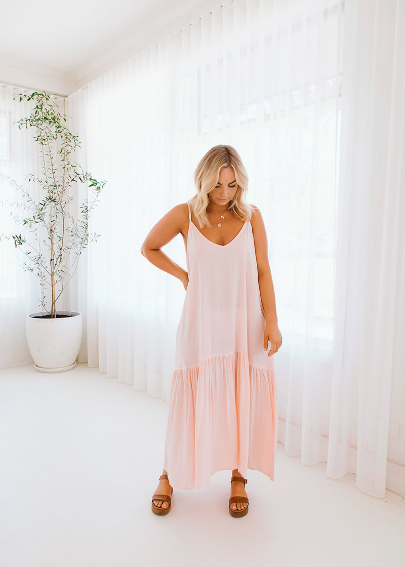 Salt & Soda Design For Everybody For Every Season For Every Day Marbella Dress Peachy Keen Soft Cotton Rayon Long Length With Deep Frill Hem Adjustable Shoestring Straps Round Neckline Front And Back