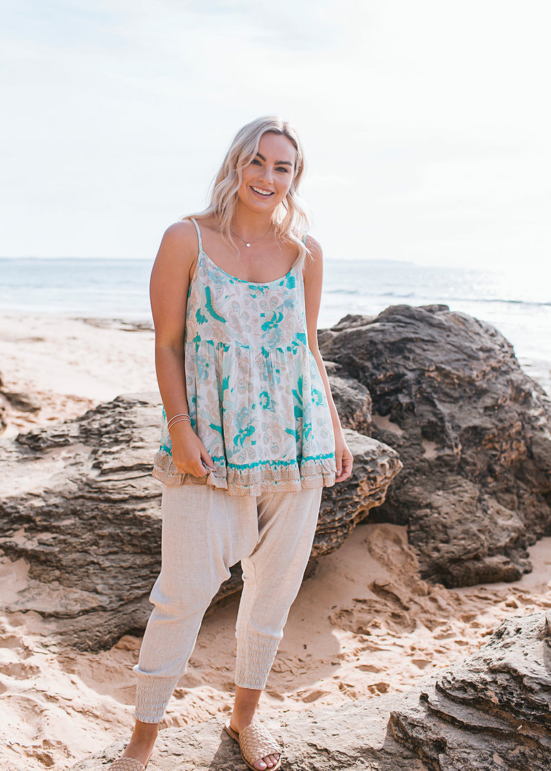 Salt & Soda Design For Everybody For Every Season For Every Day Ipanema Cami Seashell Organic Material Loose Fitting Cotton Scoop Neck Shoe String Straps Flowy Light Weight.